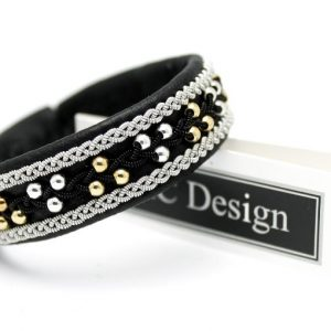 Sami bracelet in Black reindeer leather, sterling silver beads and gold plated beads.